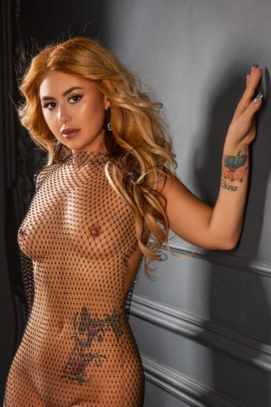 Diva posing in full fishnet bodysuit against black wall