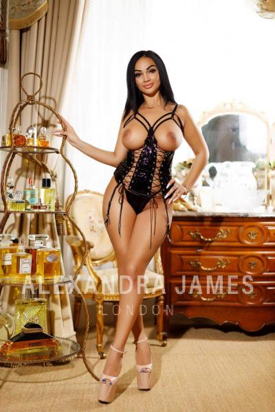 Jacqueline in black lingerie and corset posing in front of shelves